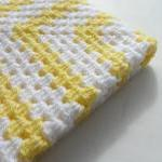 Crochet Granny Square Baby Blanket Yellow White