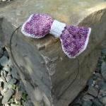 Crochet Headband Bow Hairband Purple White